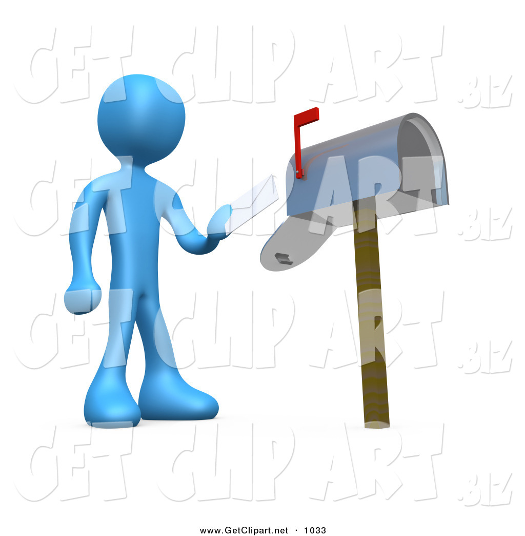 D Clip Art Of A Blue Man Standing In Front Of A Mailbox With The