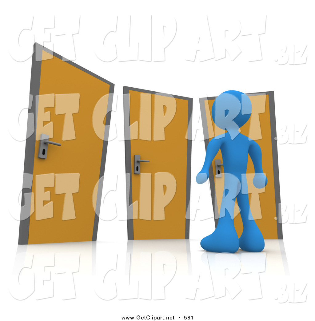 royalty stock get designs of options blue man standing in front of a trio of different doors symbolizing different paths to take for job opportunities or life choices