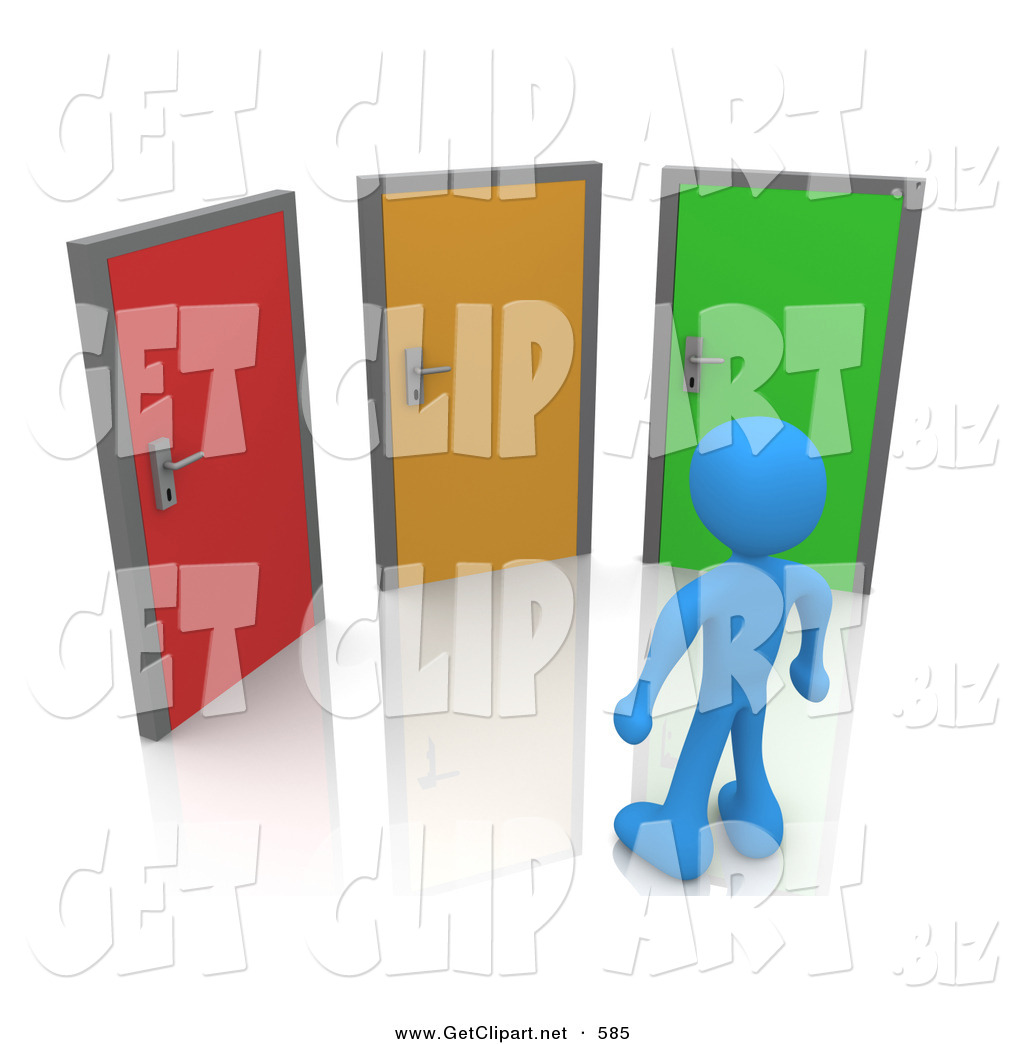 royalty stock get designs of options blue man standing in front of three different colored doors symbolizing different paths to take for job opportunities or life choices