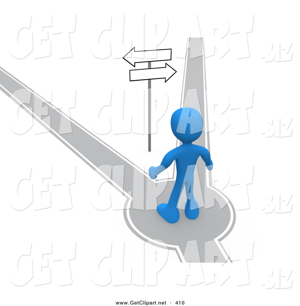 3d Clip Art Of A Blue Man Standing On Path That Forks Off Into Two