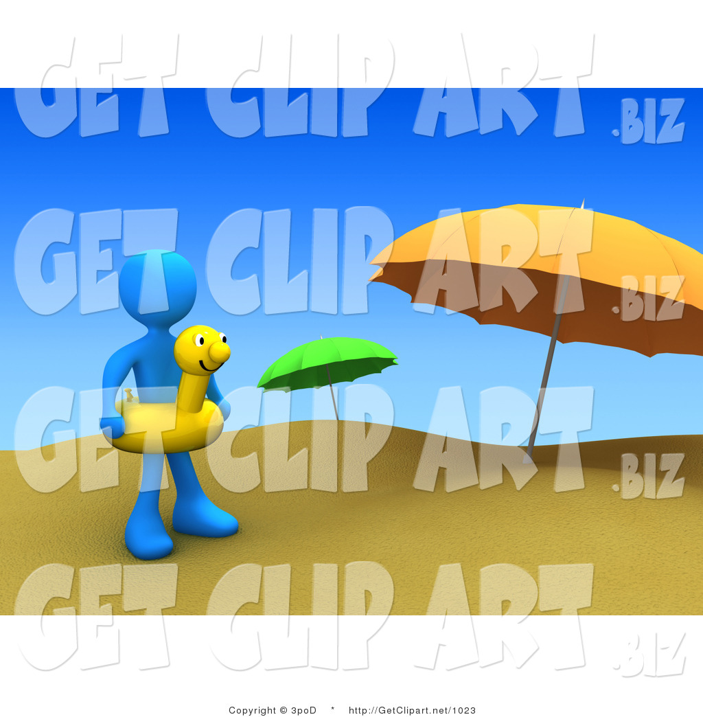 Blue Man Wearing A Yellow Inner Tube With Face Around Their Waist And Standing By Beach Umbrellas At Sandy On Summer Vacation