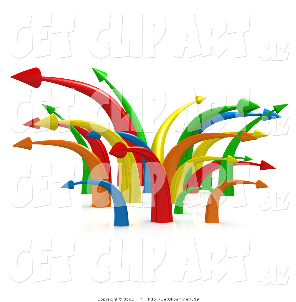 3d Clip Art of a Chaotic Mess of Many Colorful Arrows ... Multiple