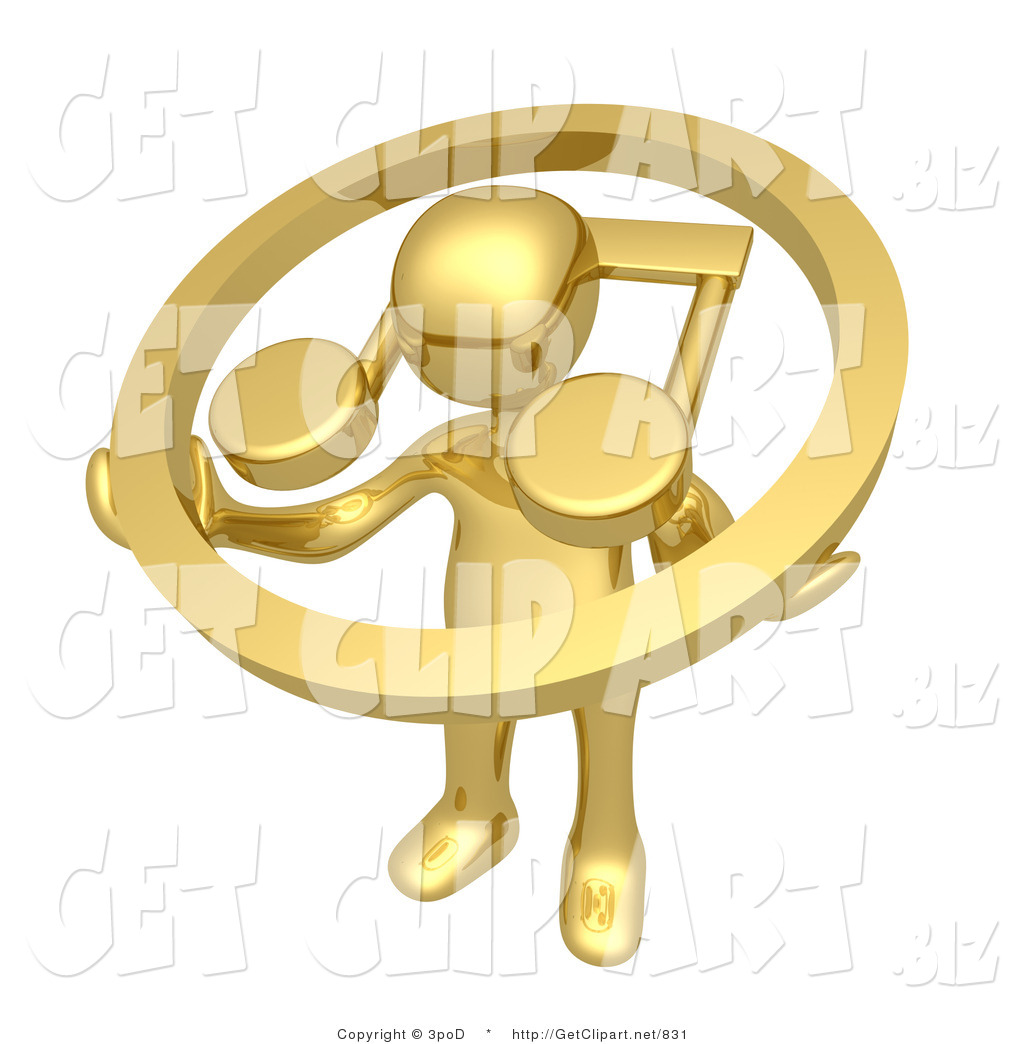 3d clip art of a gold guy with a music note circle