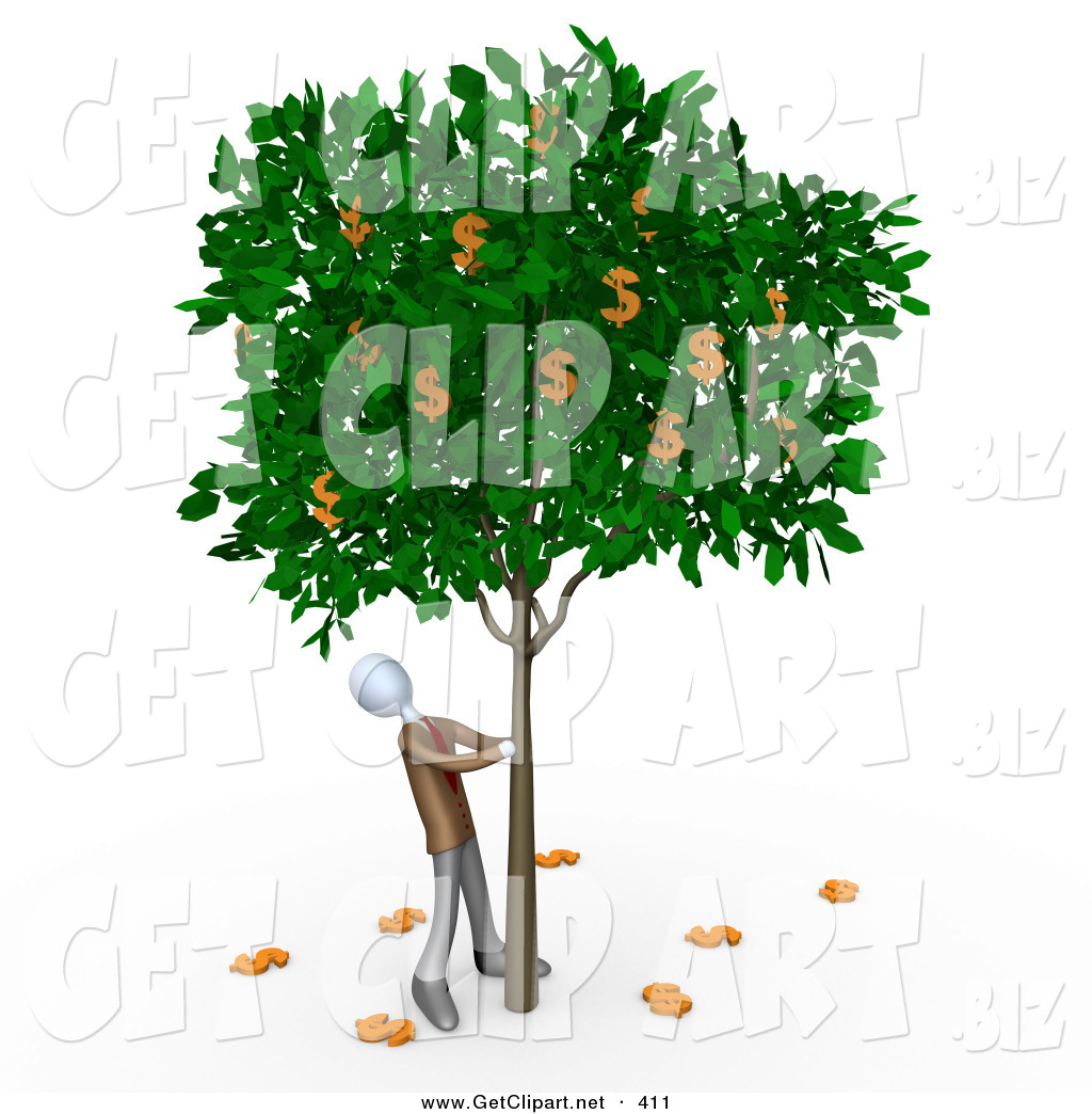 3d clip art of a greedy businessperson shaking money off of a tree rh getclipart net People with Money Clip Art Funny Money Clip Art