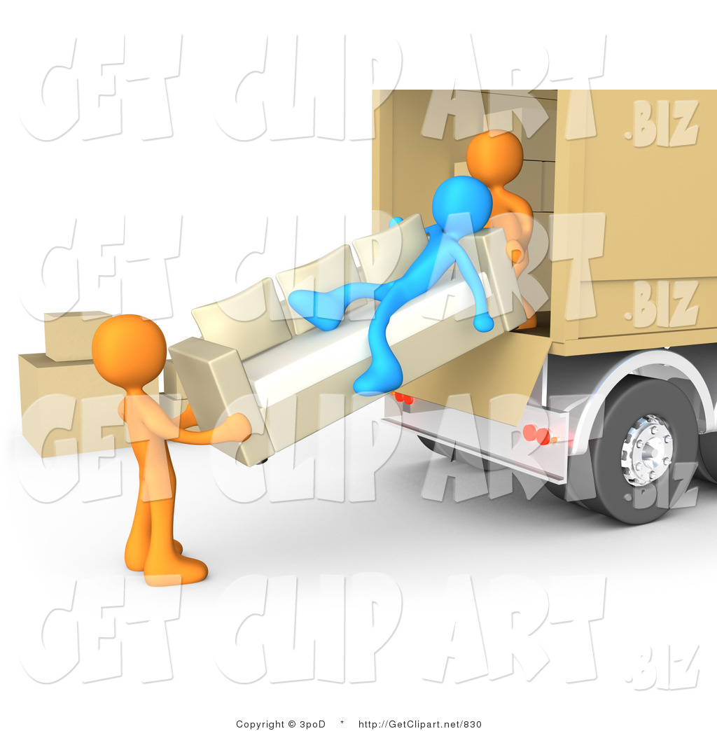 3d Clip Art Of A Lazy Blue Man Laying On Couch While Two Orange Men