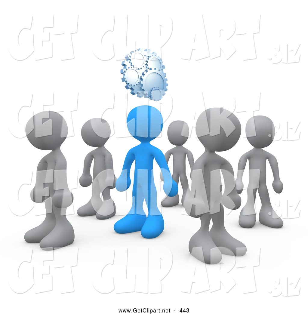 3d Clip Art of a One Independent Blue Person in a Group of Gray People ... Unique Person In A Crowd