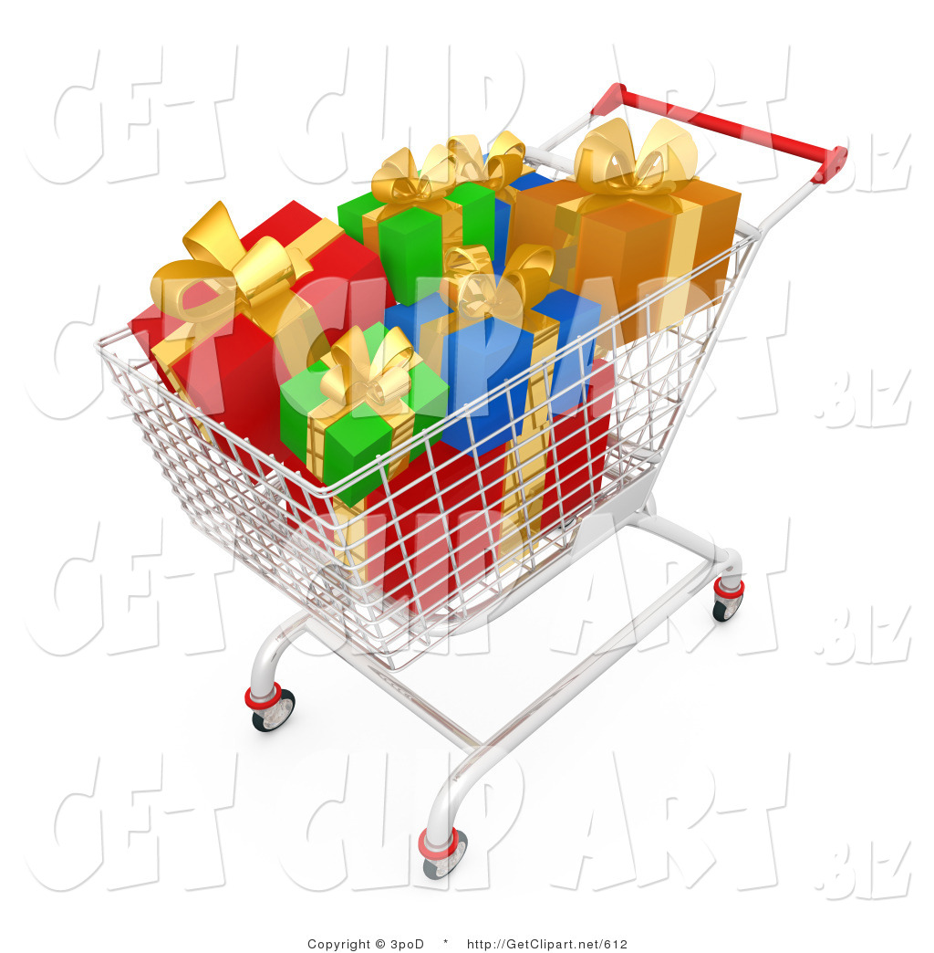 3d Clip Art Of A Shopping Cart Full Wrapped Christmas Gifts In Store