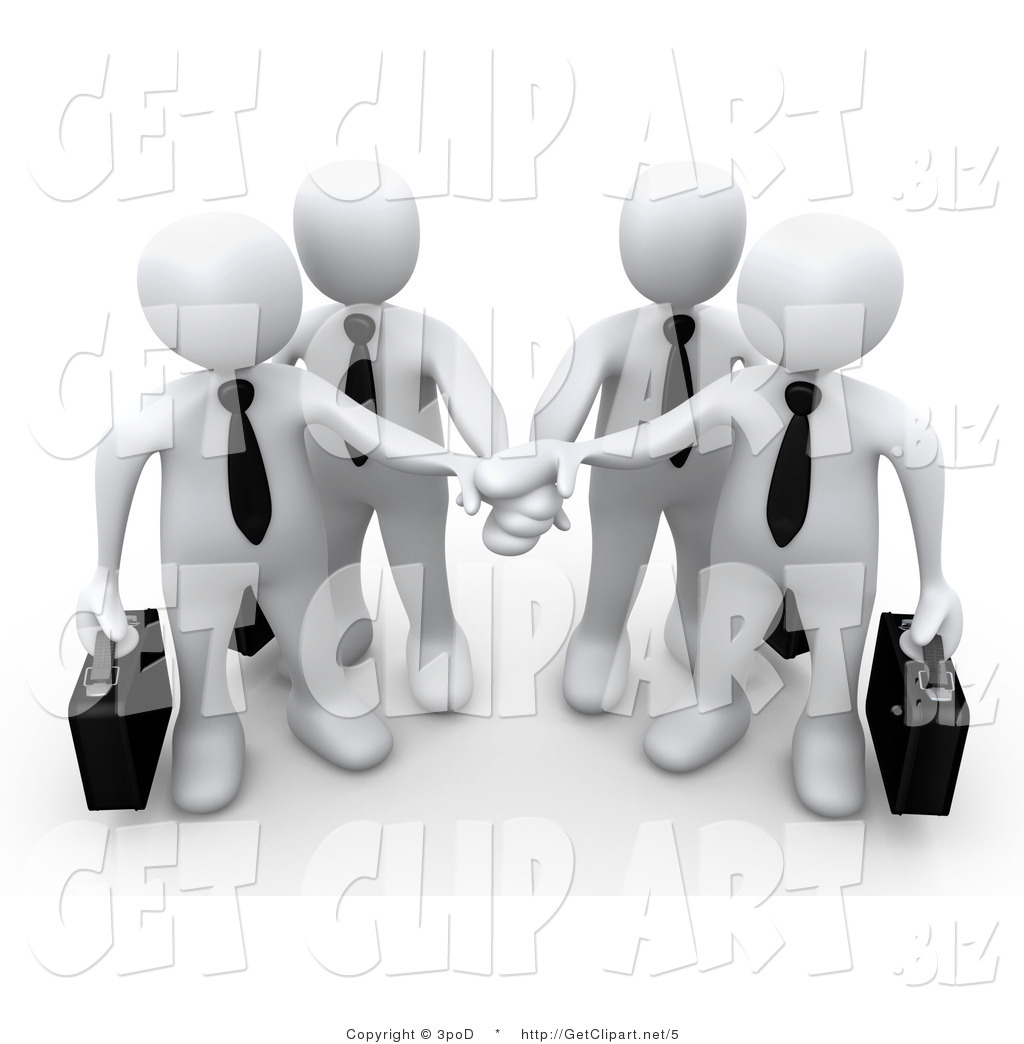 3d Clip Art of a White Business Team Stacking Hands by 3poD - #5