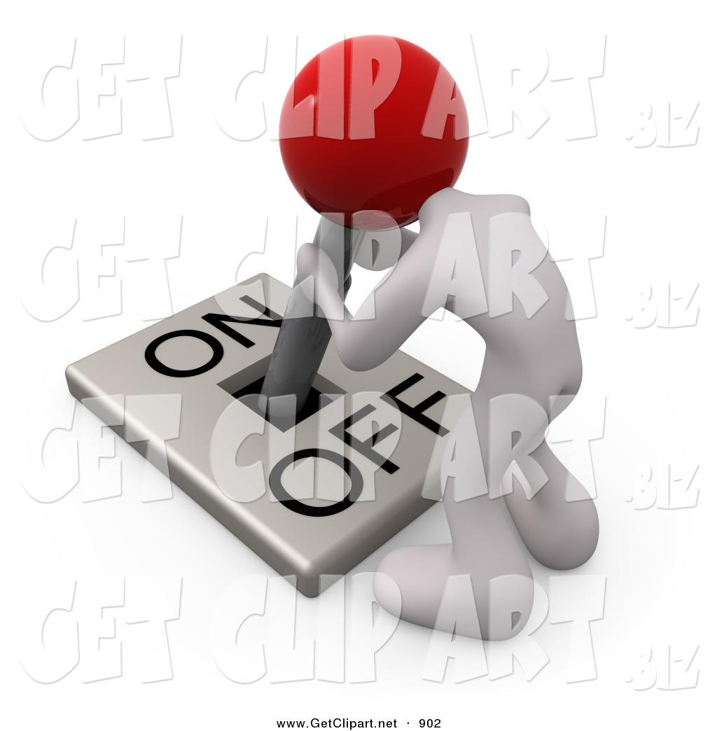 3d Clip Art Of A White Man With A Red Head Attached To An Onoff Switch Lever Crouching Over And Struggling To Turn The Switch On By 3pod 902