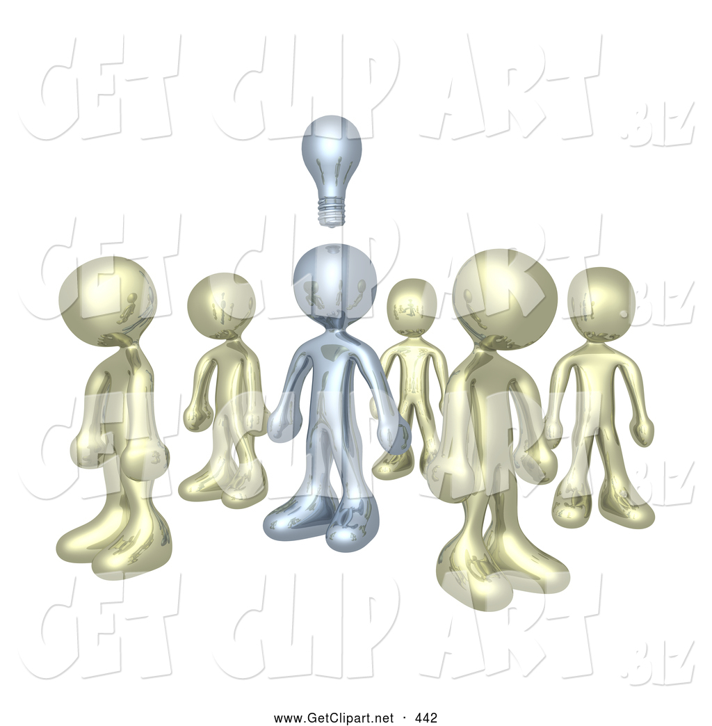 One Sole Silver Person In A Group Of Gold People Thinking Up Creative Idea With Lightbulb Over His Head