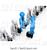 3d Clip Art of 3d Blue Business Men in a Line of White Men Shaking Hands by 3poD