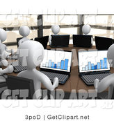 3d Clip Art of 3d White People Working on Laptops in a Financial Meeting Around a Circular Table by 3poD