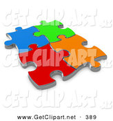 3d Clip Art of 4 Different Colored Puzzle Pieces Connected over a White Background, Symbolizing Interlinking for Seo Website Marketing, Teamwork and Diversity by 3poD