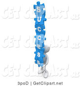 3d Clip Art of a 3d Blue Man Holding Interlocking Success Puzzle Pieces by 3poD