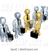 3d Clip Art of a 3d Gold Business Men with Briefcases Shaking Hands in a Line of Silver Men by 3poD