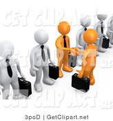 3d Clip Art of a 3d Orange Business Men with Black Briefcases Shaking Hands in a Line of White Men by 3poD