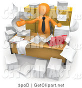 3d Clip Art of a 3d Orange Businessman with Papers Flying Around His Messy Office by 3poD