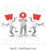 3d Clip Art of a 3d People Dancing with Letters Spelling WOW for Heads by 3poD