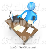 3d Clip Art of a 3d Rendered Blue Businessman at His Desk at Work by 3poD