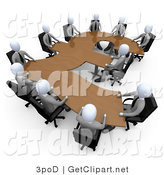 3d Clip Art of a 3d White Business People in a Meeting Around a Wooden British Pound Shaped Table by 3poD