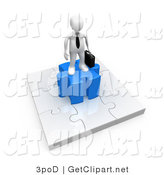 3d Clip Art of a 3d White Businessman Standing on a Jigsaw Puzzle Piece by 3poD