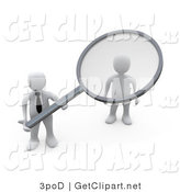 3d Clip Art of a 3d White Businessman with a Magnifying Glass Doing a Background Check on an Applicant by 3poD