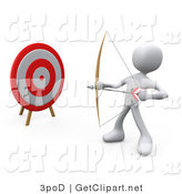 3d Clip Art of a 3d White Man Archer by a Target with a Bow and Arrow by 3poD