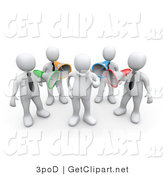 3d Clip Art of a 3d White Men Shouting Through Colored Bullhorns at a Man by 3poD