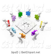 3d Clip Art of a 3d White People Holding Colorful Puzzle Pieces, Working Together to Solve a Puzzle by 3poD