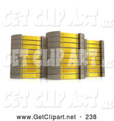 3d Clip Art of a Array of Three Yellow Server Towers Hosting Services to Customers by 3poD