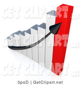 3d Clip Art of a Arrow on a Graph Showing the Success and Increasing Profits for a Business by 3poD