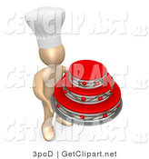 3d Clip Art of a Baker Wearing a White Cook Hat and Holding a Big Red and Silver Three Tiered Birthday, Wedding or Anniversary Cake for a Big Celebration by 3poD