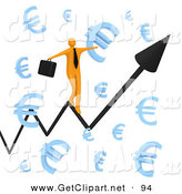 3d Clip Art of a Balancing Happy Orange Businessman Carrying a Briefcase and Balancing on an Increasing Black Arrow of a Graph Through Floating Blue Euro Symbols by 3poD