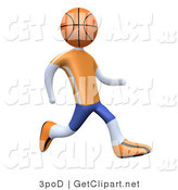 3d Clip Art of a Basketball Player with a Basketball Head, Running in an Orange and Blue Uniform and Sneakers by 3poD