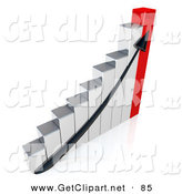 3d Clip Art of a Black Arrow Going up a Chrome and Red Bar Graph Chart Depicting an Increase in Sales by 3poD