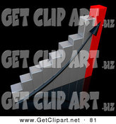 3d Clip Art of a Black Arrow Going up a Silver and Red Bar Graph Chart over a Black Background, Depicting an Increase in Sales and Profits by 3poD