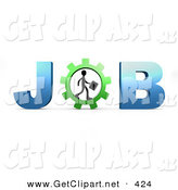3d Clip Art of a Black Silhouetted Person Carrying a Briefcase and Walking in a Gear That Forms the Letter O in the Word Job by 3poD