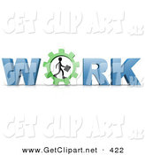 3d Clip Art of a Black Silhouetted Person Carrying a Briefcase and Walking in a Gear That Forms the Letter O in the Word Work by 3poD