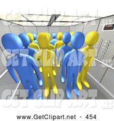 3d Clip Art of a Blue and Yellow People in an Office Elevator, on White by 3poD