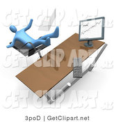 3d Clip Art of a Blue Business Person Knocking His Computer off His Desk As He Is Falling Backwards After Clumsily Leaning Too Far Back in a Chair at His Computer Desk While Comparing Graphs on a Printout and on the Computer by 3poD