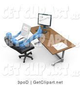 3d Clip Art of a Blue Business Person Relaxing at His Desk While Seated in a Chair in Front of a Computer, His Feet Crossed and up on the Desk While Leaning Back and Looking at Graphs Showing an Increase in Sales by 3poD