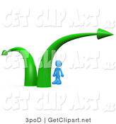 3d Clip Art of a Blue Businessman Standing Between Two Green Arrows Pointing in Different Directions, Wondering Which Path to Take in His Business Career by 3poD