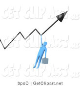 3d Clip Art of a Blue Businessman with a Briefcases, Gripping a Profit Arrow That Is Going Upwards by 3poD