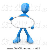 3d Clip Art of a Blue Figure Holding up a Blank White Oval Sign Ready for an Advertisment by 3poD