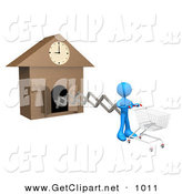3d Clip Art of a Blue Figure Pushing an Empty Shopping Cart on the End of a Cuckoo Clock Arm, Symbolizing a Special Sales Promotion That Starts at a Certain Time or a Person on a Schedule by 3poD