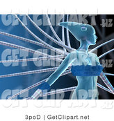 3d Clip Art of a Blue Futuristic Human Female Cyborg or Alien Connected to Cables and Looking to the Right by 3poD