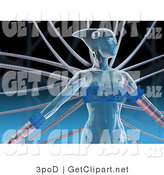3d Clip Art of a Blue Futuristic Human Female Cyborg or Alien Connected to Cables by 3poD