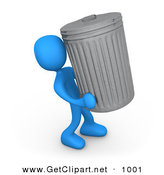3d Clip Art of a Blue Man Carrying a Big Trash Can out to the Curb on Garbage Day by 3poD