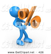 3d Clip Art of a Blue Man Carrying a Heavy Orange Percentage Sign by 3poD