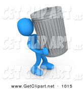 3d Clip Art of a Blue Man Carrying a Heavy Trash Can out to the Curb on Garbage Day by 3poD